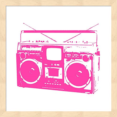 Pink Boom Box by Veruca Salt Fine Art Print with Wood Box Frame and Glass Cover, 15 x 15 inches ()