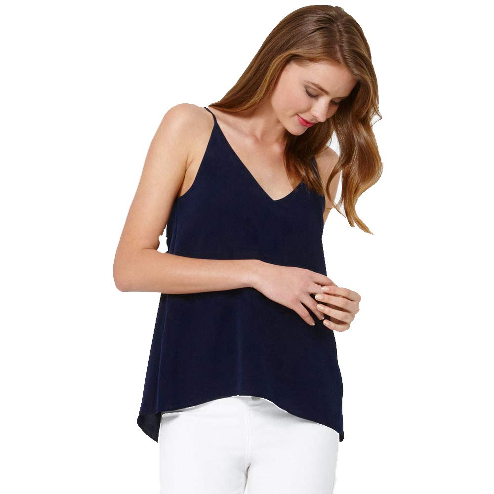 iLUGU Women V Neck Tank Top Vest Sleeveless Men Pullover Chiffon Shirt Cami Blouse Dark Blue