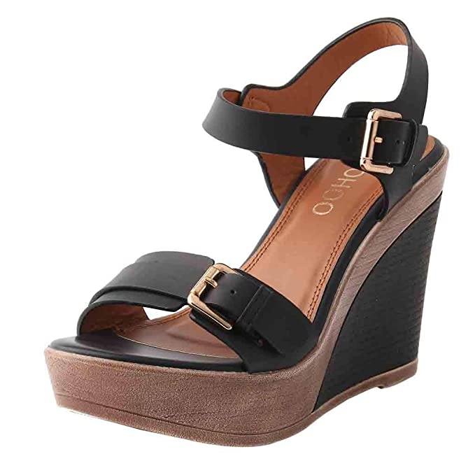 40c8657a27a Womens Buckle Strap Ankle Sandals Thick Sole Wedge Platform High Heel  Sandals Peep Toe Comfy Shoes 5.5-8  Amazon.ca  Clothing   Accessories