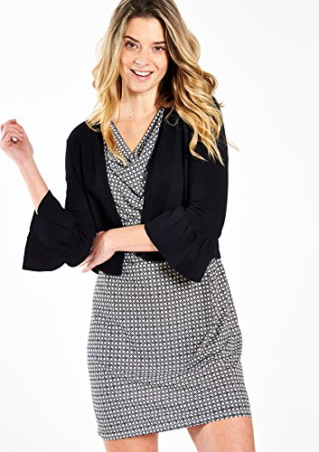 LOLALIZA - Cardigan, manches 3/4 avec volant - Black - Tailles XS-XL