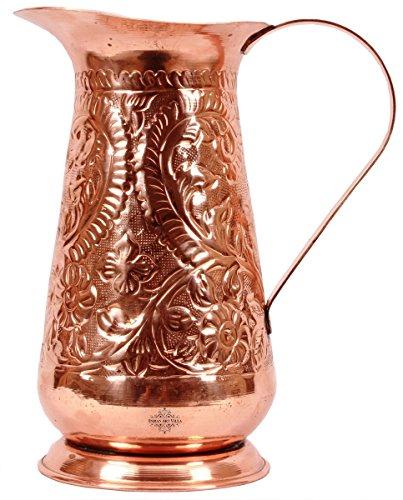 Pure Copper Leaf Floral Design Copper Jug Pitcher Drinkware And Serveware Ayurveda Health Benefit Capacity 1500 M