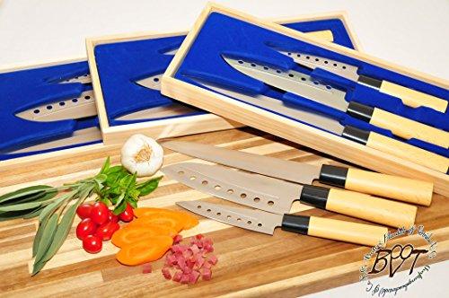 12x Küchenmesser, Kochmesser - Set + vier Boxen aus Holz, für bequemes Schneiden mit besonders scharfer Klinge, Messer-Set Asia Messerset mit Edelstahl Klingen, Fisch, Fleisch, Gemüse, Obst und Sushi-Messer+ 4x Großes Yanagiba-Messer, Yanagibamesser Fleischmesser Fleisch-Messer Klingenlänge 21 cm 21cm 34 cm 34cm ideal für Zubereitung von Sushi