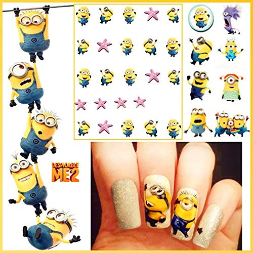 12 sets Bannana minions toy cartoon NAIL DECALS stuart minion goggles water transfer nail minion stickers natural manicure acrylic nail accessories nail vinyls French tip stickers ()