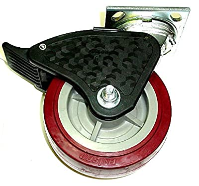 """Colson Swivel Plate Caster with Non-Marking Polyurethane 6"""" x 2"""" Wheel and Brake"""