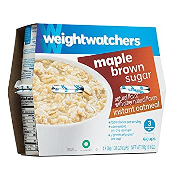 Weight Watchers Maple Brown Sugar Oatmeal 1 package which contains 4  separate cup servings NEW Diet
