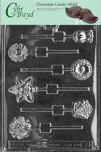 Cybrtrayd Life of the Party F021 Daisy Rose Tulip Iris Marigold Flowers Lolly Chocolate Candy Mold in Sealed Protective Poly Bag Imprinted with Copyrighted Cybrtrayd Molding Instructions (Iris Plastic Mold)