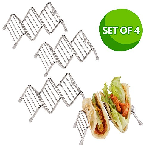 Disumos Stainless Steel 4 packs Taco Holders /Space for 8 to 12 Tacos Taco Holder, Taco Stand, Taco Rack, Premium 18/8 Stainless Steel, Taco Holders Hold 2 or 3Hard or Soft Shell Tacos, Set of 4