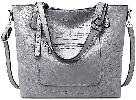 ハンドバッグ - 女性のジッパーショルダーバッグとショルダーバッグ、スタイリッシュなクロコダイル柄PU素材、ハンドバッグ、ブラウン/赤/銀、32 * 15 * 32センチメートル よくできた (Color : Silver)