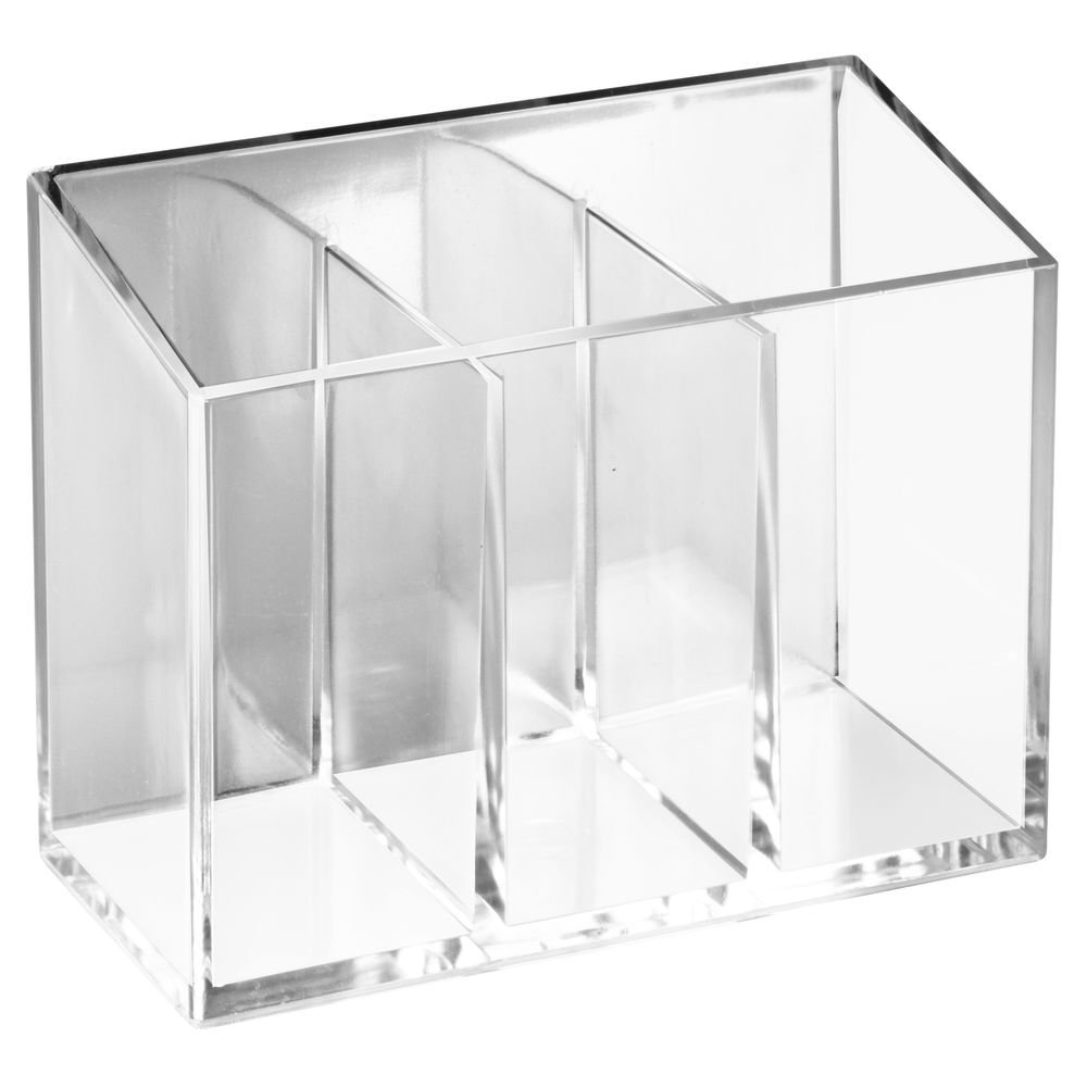 InterDesign AFFIXX, Peel and Stick Strong Self-Adhesive Vanity Cosmetic Organizer for Hair Care, Jewelry, Bath, Q-Tip Holder, Makeup - 2 Compartment, Clear 21120