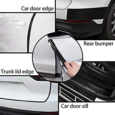 CVANU Car Door Sill Protector Bumper Protector Carbon Fiber Car Wrap Film 5D Gloss Black Vinyl Automotive Wrap Film Self-Adhesive Anti-Collision Film Fits for Most Car (Size 2inch X 60 Feet) 8