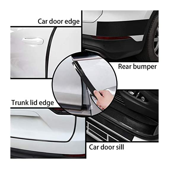 CVANU Car Door Sill Protector Bumper Protector Carbon Fiber Car Wrap Film 5D Gloss Black Vinyl Automotive Wrap Film Self-Adhesive Anti-Collision Film Fits for Most Car (Size 2inch X 60 Feet) 4