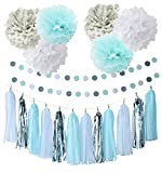 First Birthday Boy Decorations  20pcs Baby Blue White Grey Baby Boy Baby Shower/Party Paper Decorations Tissue Paper Pom Pom Tassel Garland Circle Paper Garland Baby Shower Decorations Boy