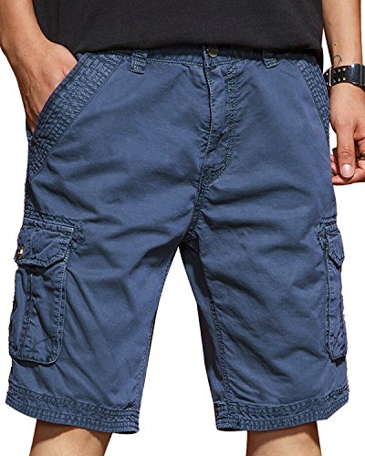 JoJoJoy Men's Casual Loose Fit Cargo Shorts, Straight Multi-Pocket Cotton Outdoor Wear Upgrade Blue Size 38 ()