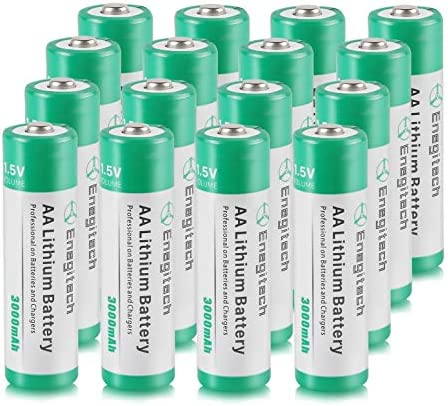 AA Lithium Battery 16 Pack, Enegitech 3000mAh 1.5V Double A Long-lasing Li-Iron Battery Non-Rechargeable for Flashlight Solar Lights Remote Control Blink Security Camera System