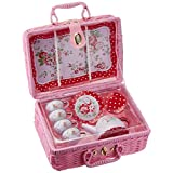 Delton Children's Tin Tea Set with Roses and Polka Dots