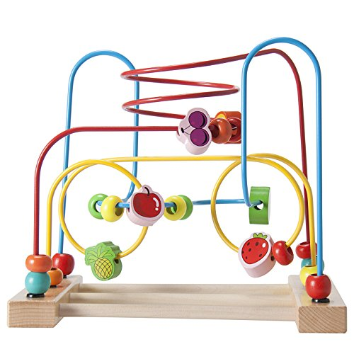 Wooden Bead Maze Fruit Circle Roller Coaster Toy for Children Early Educational Development by Weiyi