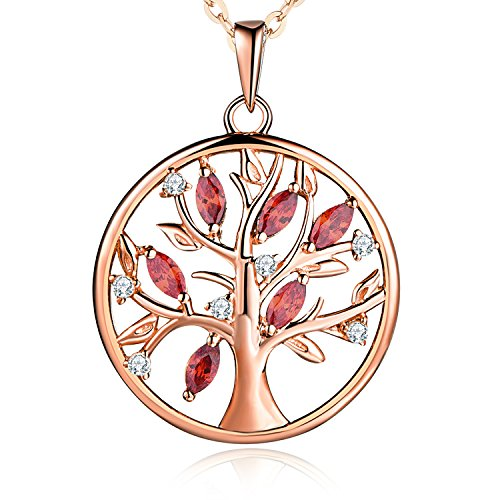 925 Sterling Silver Birthstone Red Garnet Family Rose Gold Tree of Life Pendant Necklace,18-20
