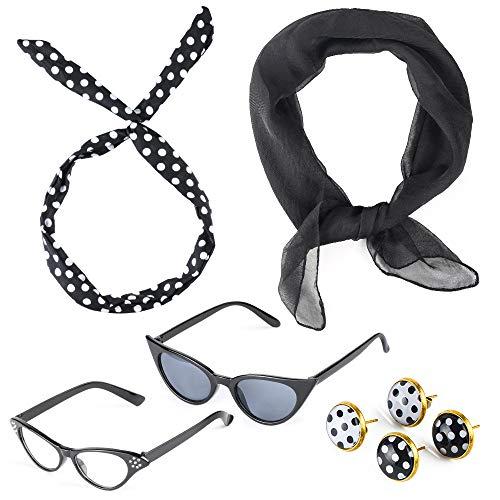 - Beelittle 50's Costume Accessories Set 1950's Chiffon Scarf Cat Eye Glasses Bandana Tie Headband Drop Dot Earrings (Black)