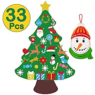 jollylife 3ft DIY Felt Christmas Tree Set Snowman Advent Calendar - Xmas Decorations Wall Hanging 33 Ornaments Kids Gifts Party Supplies