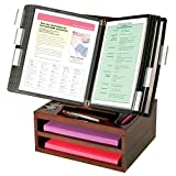 Ultimate Office WoodWorx 10-Pocket Desk Reference Organizer w/ 2 Letter Trays, (Black w/ Black Pockets)