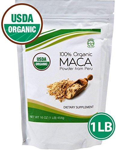 Madre Nature - qualité Premium - 100% Péruvienne Bio Maca en Poudre (1 LB) - sans OGM - Vegan - sans Gluten (16 oz)