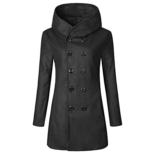 Goddessvan Mens Winter Solid Color Long-Sleeved Button Blazer Jacket Trench Coat Outwear