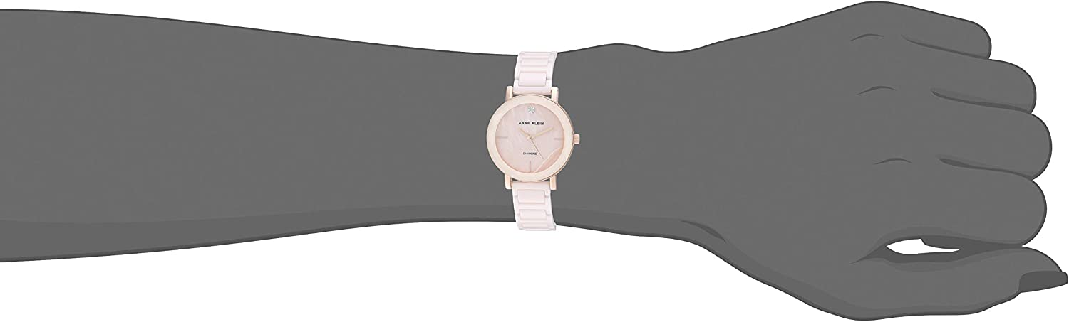 Anne Klein Women's Diamond-Accented Ceramic Bracelet Watch with Faceted Lens Light Pink/Rose Gold