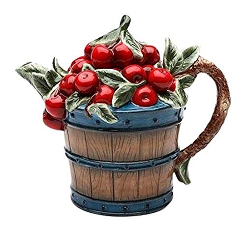 StealStreet SS-CG-10181, Red Cherries Overflowing in Wooden Barrel Teapot Collectible