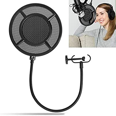 Dual Layer Microphone Filter Recording Studio Wind Screen Pop Mask Black Shield