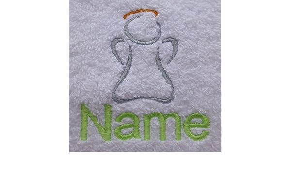 Albornoz con capucha para bebé de color blanco o blanco toalla con capucha con un ángel Logo y nombre de su elección., Blanco, Baby Robe 0-9 months: ...