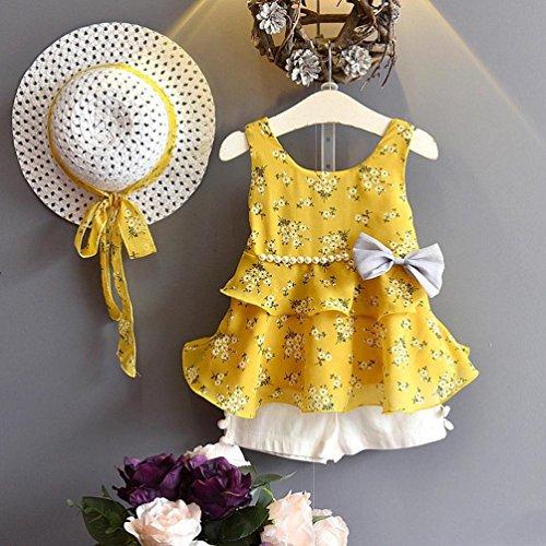 3PCS Toddler Kid Girl Outfits Clothes Floral Vest T-shirt/&Pants/&Sun Hat Set L