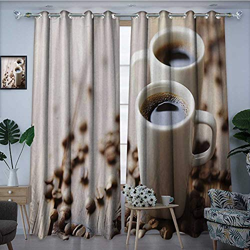(longbuyer CoffeeBlackout DrapesEspresso in Cups on Wooden Table with Beans Hot Drink for Romantic CouplesBlackout Curtains Room Darkening Thermal Insulated W96 x L96 Cocoa Brown)