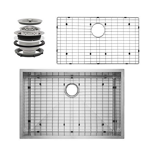 Perfetto Kitchen and Bath 33' x 22' x 9' Handmade 18 Gauge Stainless Steel Undermount Single Basin Kitchen Sink w/ Dish Grid & Drain