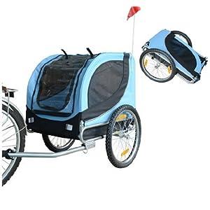 51kK17Tv ML. SS300 PawHut Carrellino Rimorchio per Cani Animali Domestici da Bicicletta Azzurro e Nero 130 x 90 x 110cm