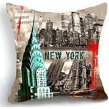 Retro vintage new york city cotton linen square decorative retro throw pillow case vintage cushion cover