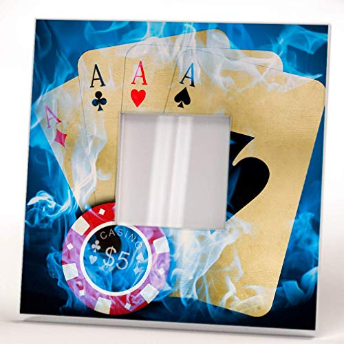 Poker Game Cards 5 bucks Chip Aces Wall Framed Mirror Decor Casino Fan Design Art Printed Home Gift