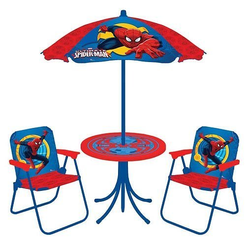 (Spider-Man Spiderman New Spring 2018 Classic Patio Set: Umbrella, Table & Two Chairs Patio Play Set)