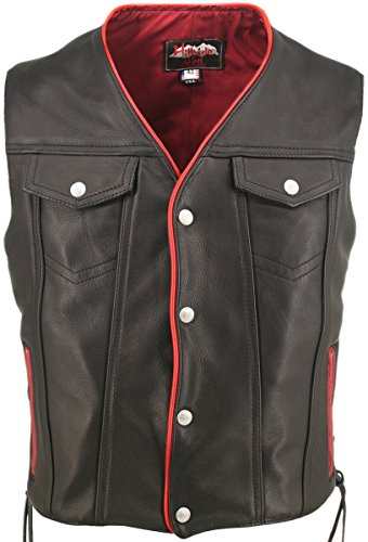 Men's Black Leather Motorcycle Vest with Red Trim & Gun Pockets (Chest:46
