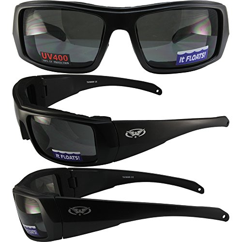 Global Vision Wildfire 4 Padded Motorcycle Sunglasses Matte Black Frames with Smoke Lenses THEY FLOAT!!!