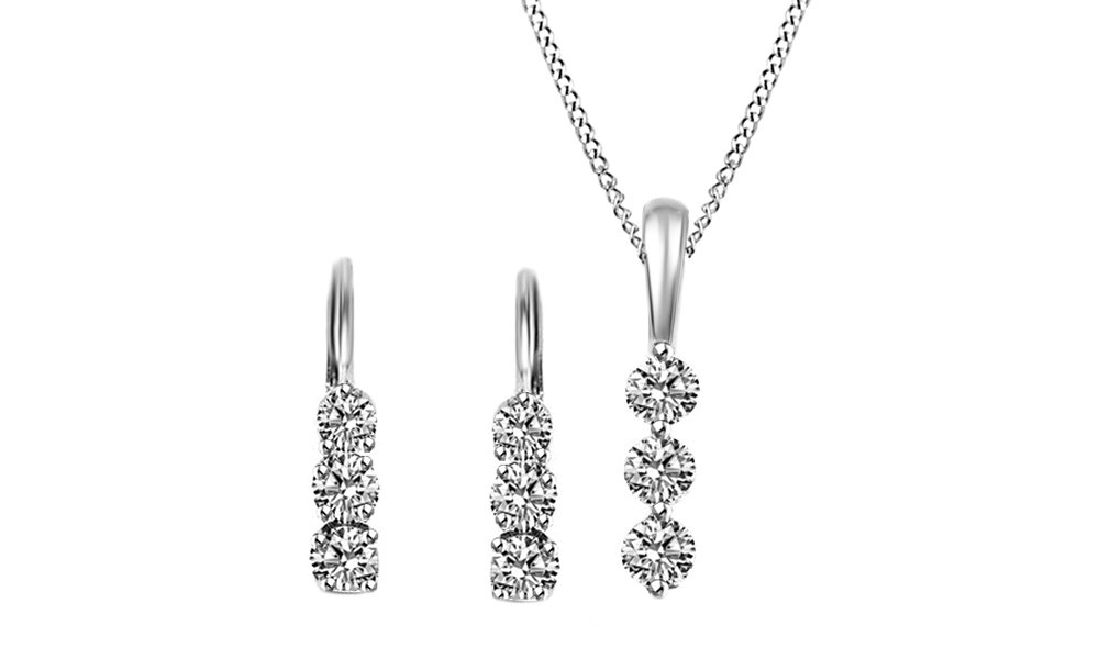 3 Stone Natural Diamond Earrings & Pendant Necklace Set 14K Solid White Gold (7/8 Ct) by Jewel Zone US