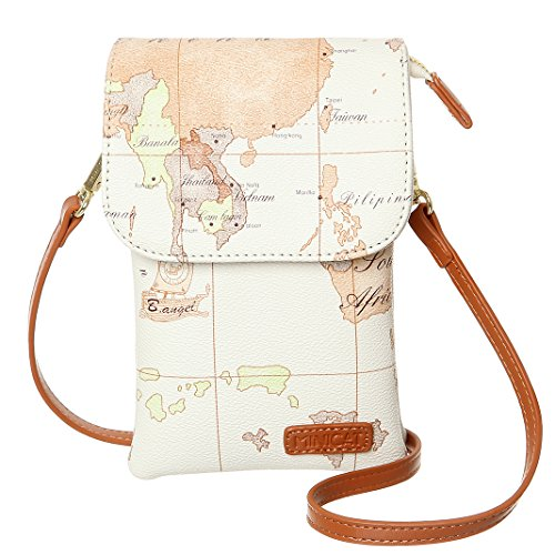 MINICAT World Map Series Synthetic Leather Small Crossbody Cell Phone Purse Wallet Smartphone Bags For Women (Map-White) ()