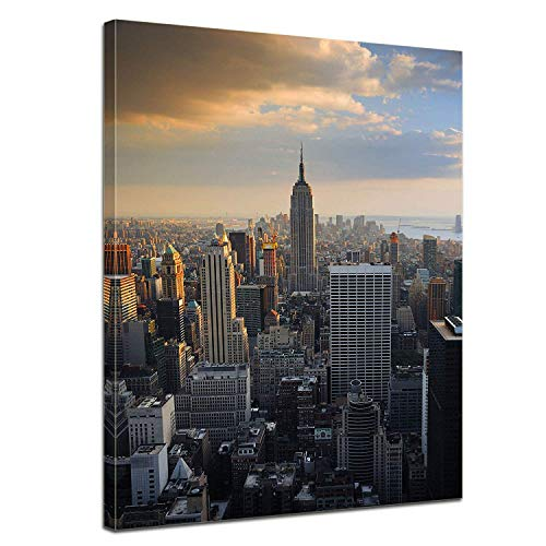 - LVLUOYE Modern Wall Art Canvas Decor - Canvas Wall Painting - Framed Artwork Photo - America - Aerial View of Manhattan - Bedroom Living Room Office Stretched Canvas,50x40cm
