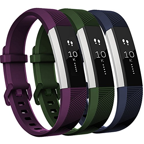 GEAK Fitbit Alta HR Bands,Replacement Bands for Fitbit Alta HR Bands and Fit bit Alta,Green Plum and Navy Blue,Large