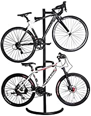 Gluckluz Bike Stand Verticle Bicycle Floor Storage Rack Display Holder Cycle Gravity Ground Parking Stand Holds Two Bicycles Holds up to 50KG for Indoor Garage Home (No Tools Required)
