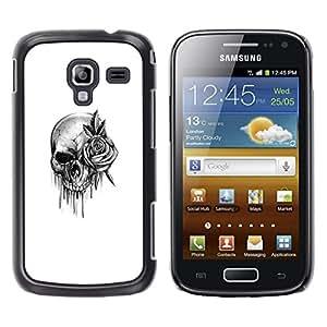 Rose del cráneo de la roca Rollo Muerte de tinta metal- Metal de aluminio y de plástico duro Caja del teléfono - Negro - Samsung Galaxy Ace 2