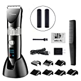 HATTEKER Hair Clippers for Men Trimmers Hair Cutting Machine Whole Body Washable Rechargeable Adjustable Cordless Display Hair Trimmer for Kids
