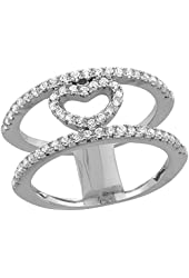 Sterling Silver Cubic Zirconia Heart Ring Micro Pave 3/8 inch Long, sizes 6 - 9