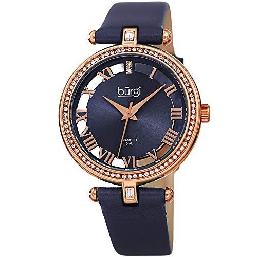 Burgi Genuine Leather Women's Watch - Swarovski Crystal Studded Bezel, 2 Diamond Markers, See Through and Sunray Dial, Blue Strap - BUR228BU