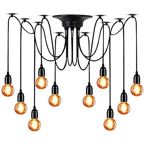 (LMAPUNDIT 10-Light Chandelier, Adjustable DIY E26 Art Spider Pendant Lighting, Rustic Chandelier (Each with 6.56ft Wire))