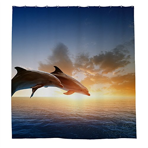 Tamengi Dolphin Show Waterproof Polyester Shower Curtain 72'...